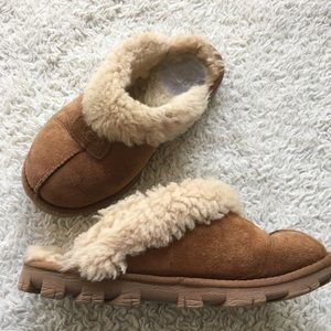 Ugg slippers brown sheep wool leather sz 9